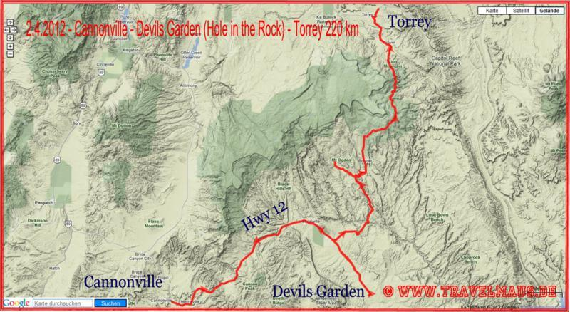 Cannonville - Devils Garden (Hole in the Rock) - Torrey 220 km