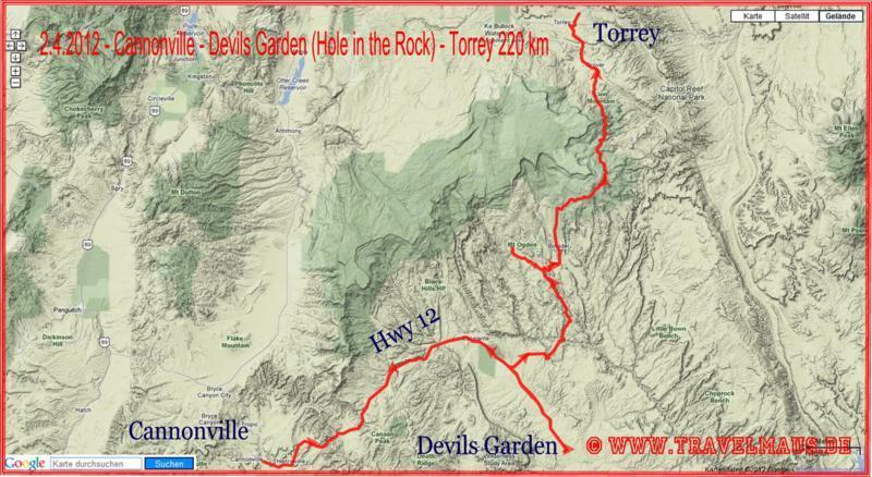 Cannonville - Devils Garden (Hole in the Rock) - Torrey 220 km