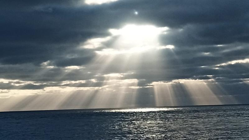 Unser Morgenblick vom Schiff aus auf den Atlantik