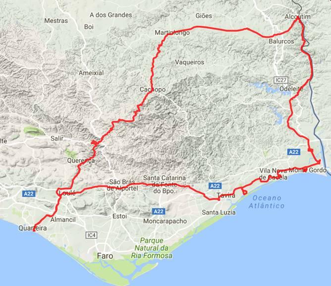10.3.2017: 230 km Tagesstrecke; Quarteira- Monte Gordo-Alcoutim -Cachopo-Loule-Quarteira