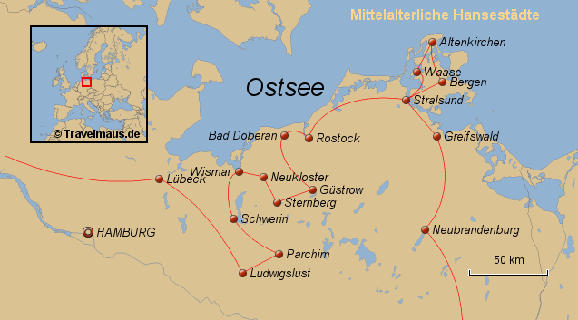 Friedrichstadt, Stade, Lübeck - Rügen - Neubrandenburg, Berlin, Dresden ca. 1000 km