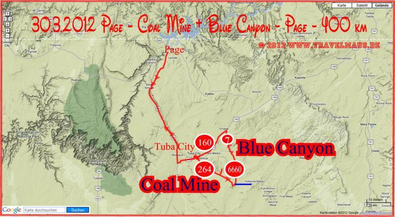 Page -Coal Mine + Blue Canyon -Page - 400 km