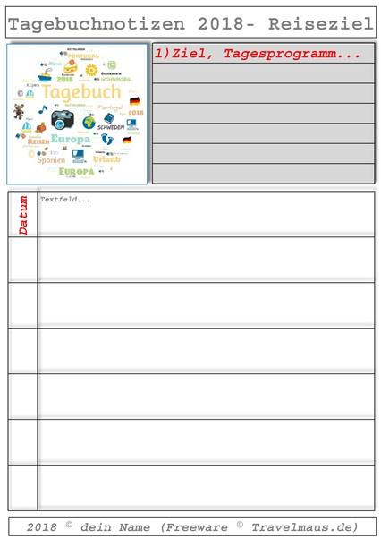 PDF-Vorlage: Reise-Tagebuch-Notizen (Freeware)
