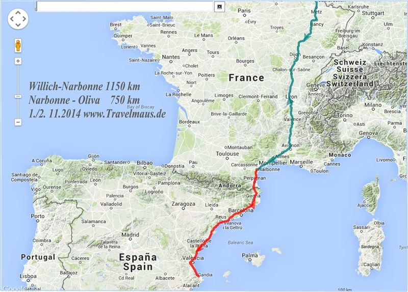Gesamtstrecke 1./2.11.2014 Willich-Luxemburg - Narbonne -Oliva/Nova.~ 1900 km