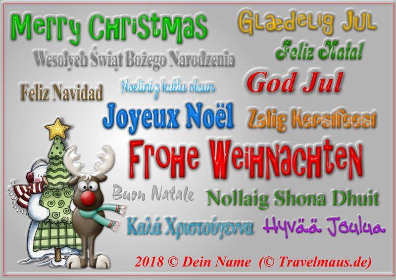 Christmaskarte mit internationalen Weihhnachtsgrüßen