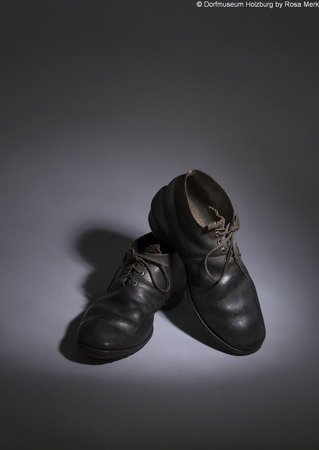 Schwarze Lederschuhe für Männer, 20. Jh., Arbeitsschuhe