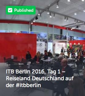 ITB Berlin 2016, Tag 1 – Reiseland Deutschland auf der #itbberlin