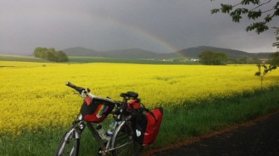 Mai: Hessischer Bahnradweg - Regenbogen bei 4-Tagestour/ Frajo