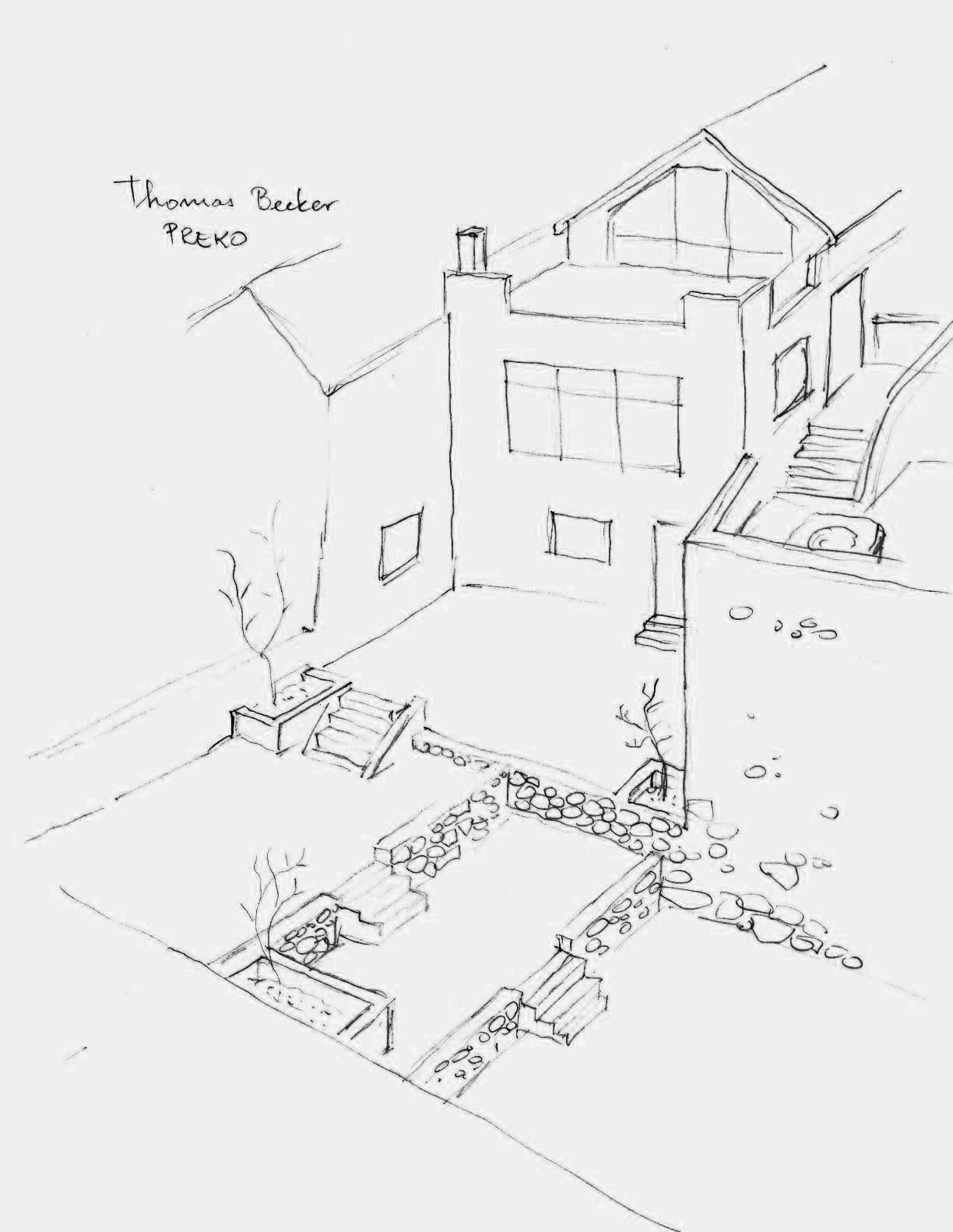 Skizze des Gartens und Ansicht Meerseite