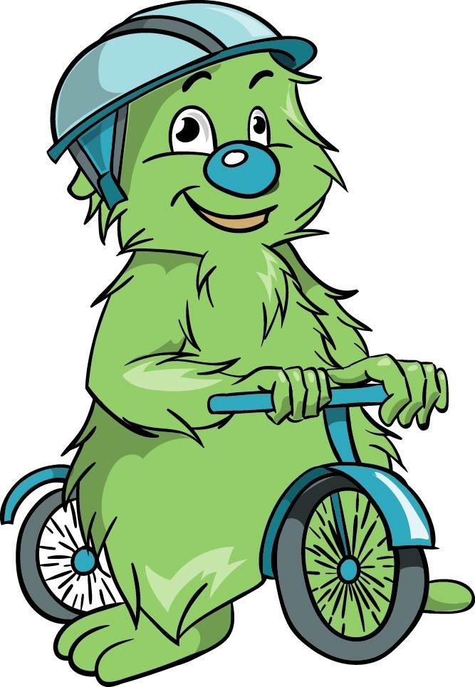 Illustration Maskottchen Textapotheke Fahrrad