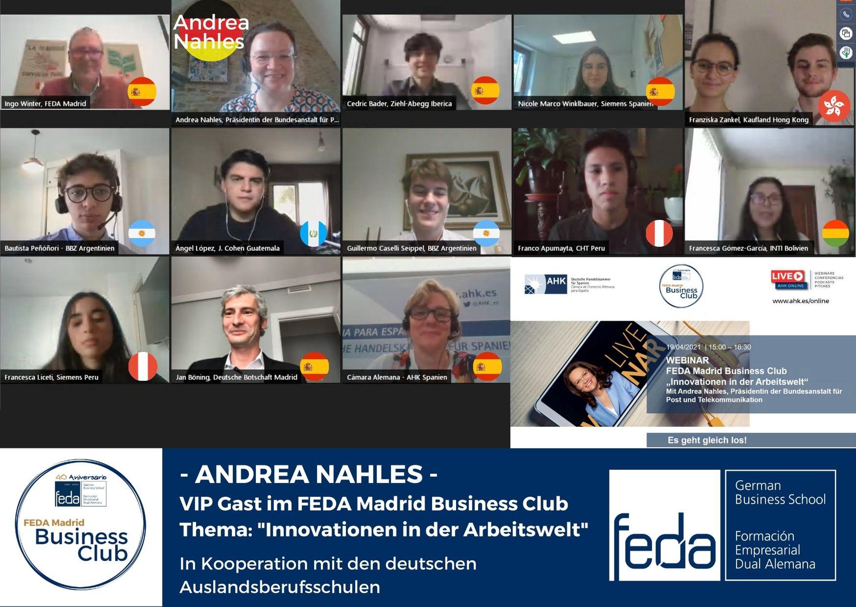 FEDA Madrid Business Club weltweit: Andrea Nahles spricht über Innovationen in der Arbeitswelt