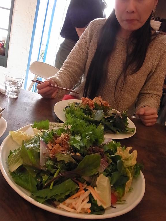 ベトナム風 肉のせごはん(手前) 韓国風 青菜とアボガドのせごはん(奥)