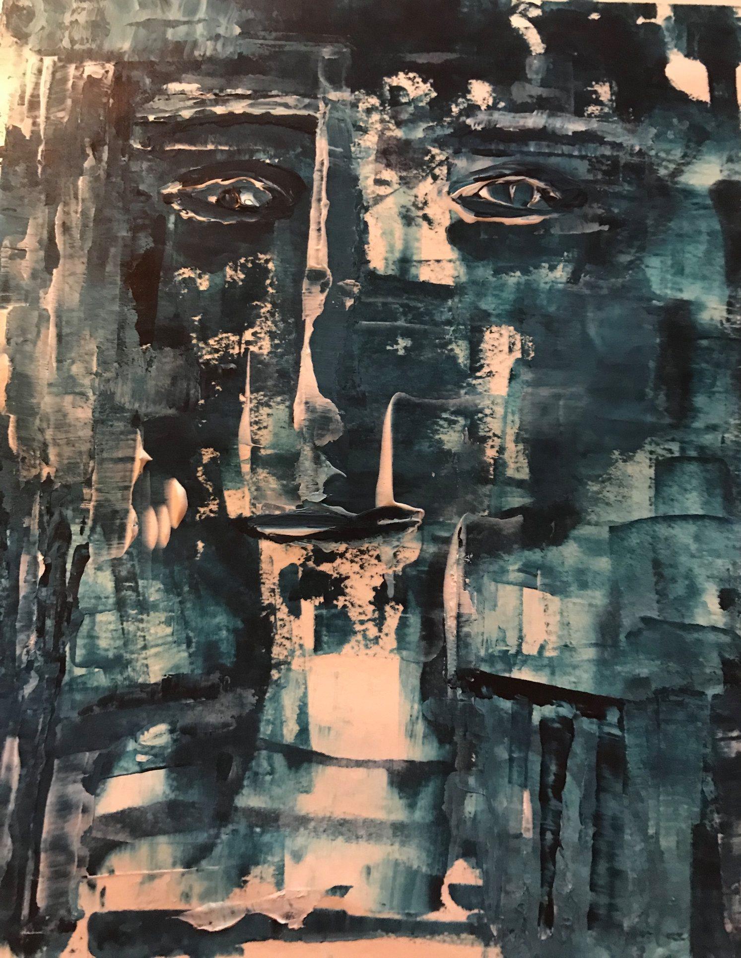 Das Gesicht im Zimmer, mixed media auf waschbarem Kraftpapier