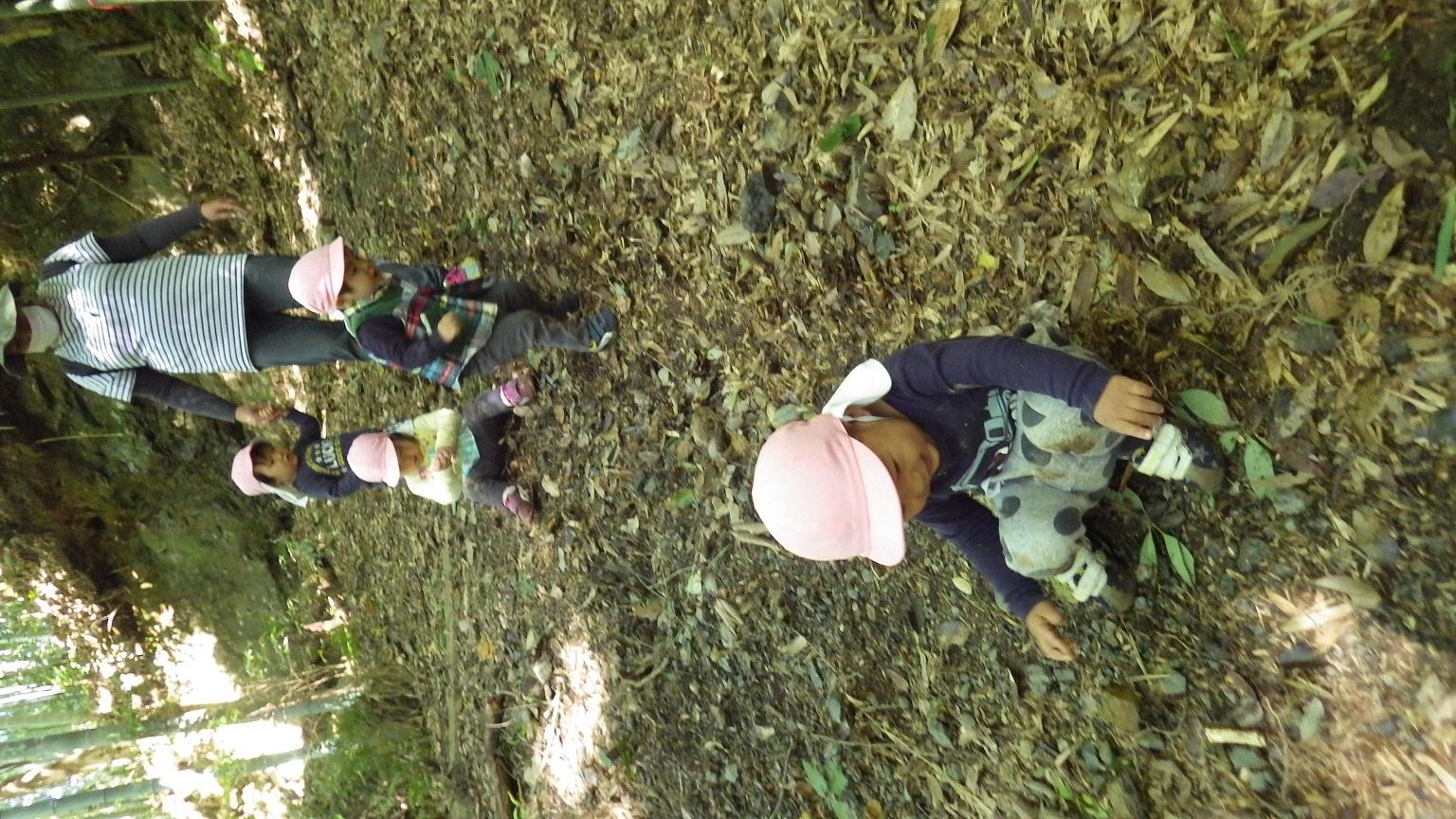 「山あそび」山あそびの楽しい季節となり、うさぎぐみ(1歳児)も山へくりだしました。自然を全身で感じて、斜面登りにもチャレンジ!