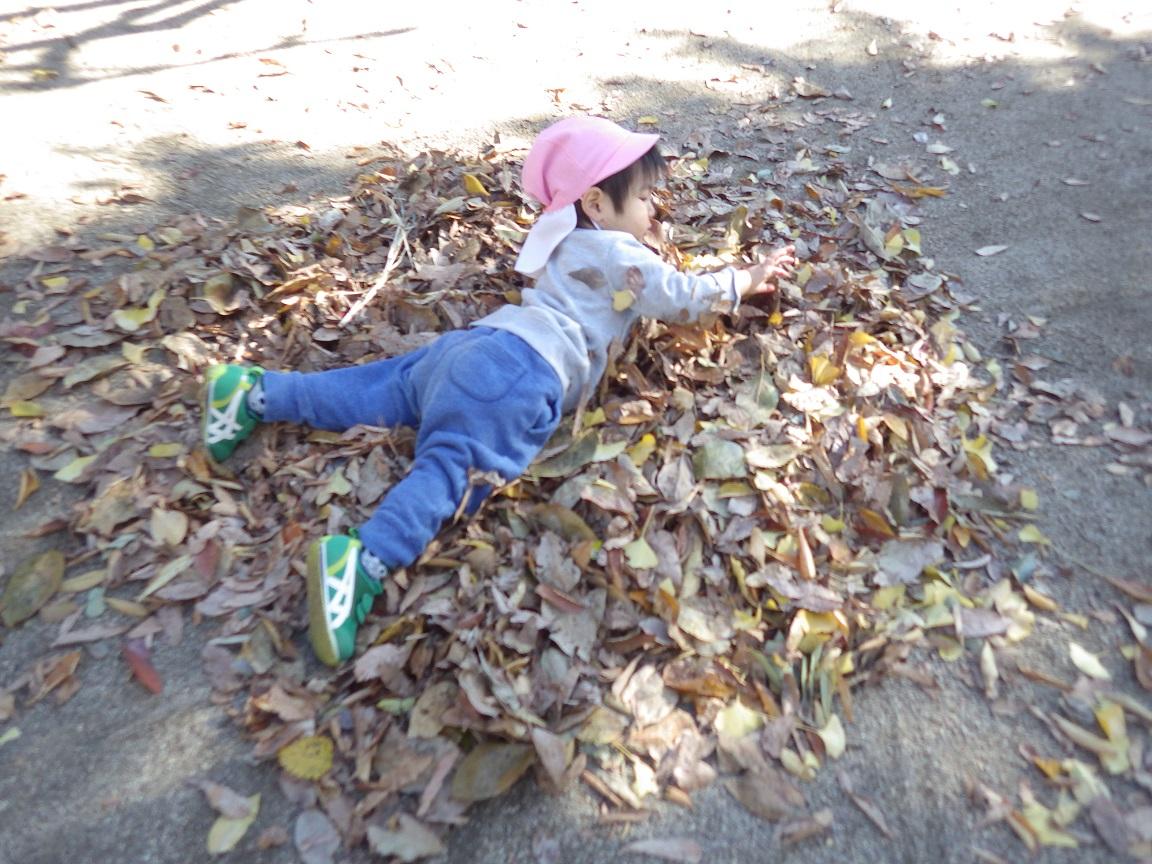 「戸外あそび」いい香りの落ち葉の山で、およぐおよぐ!
