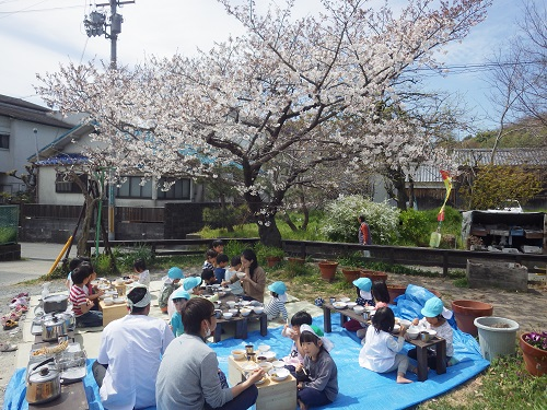 桜の木の下でお昼ご飯を頂きました。