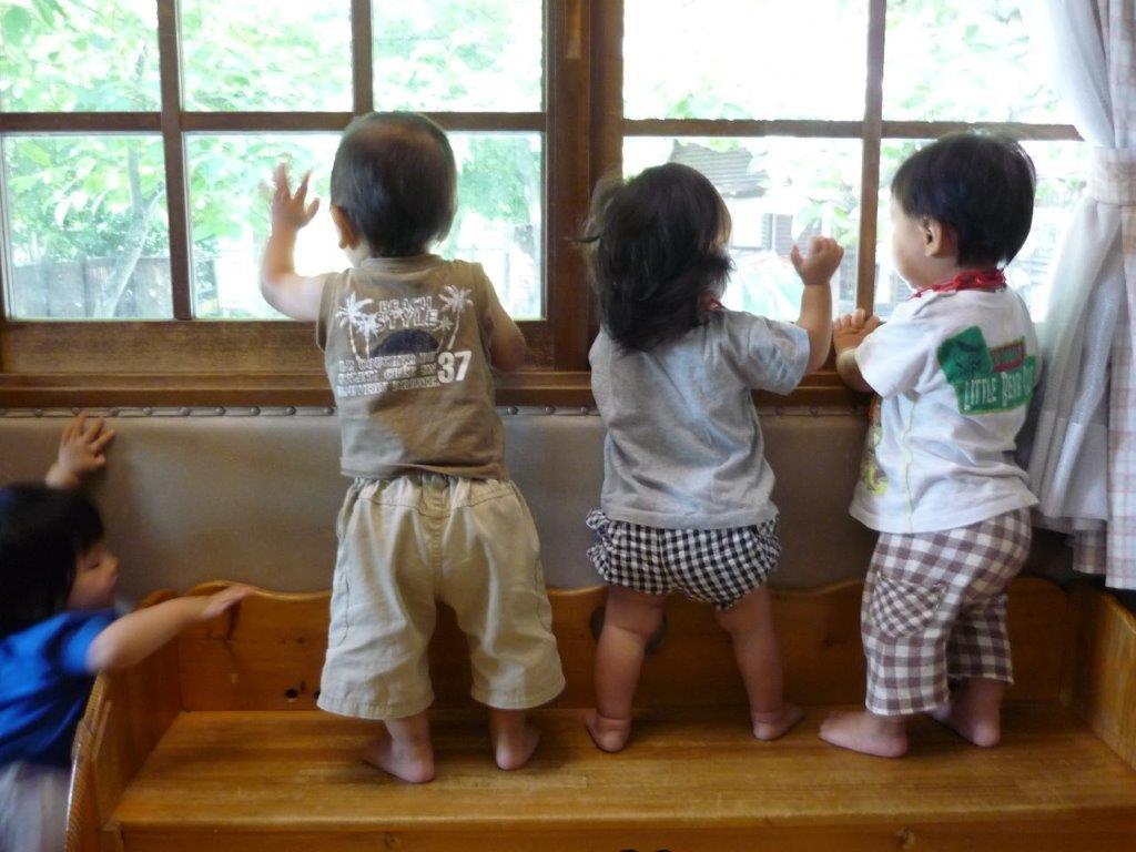 窓から園庭を眺めることが大好き。「あっ!」と指差して、大きい子があそんでいる様子を見たり、飛んでくる鳥をみています。