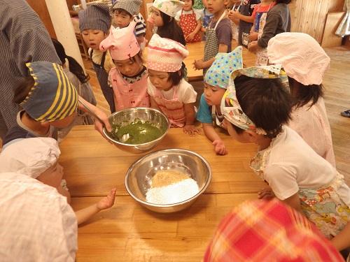 ペースト状のヨモギに白玉粉と砂糖・水を混ぜます。「ヨモギの匂いする~!」