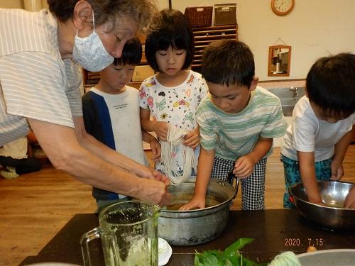 藍をミキサーで小さくしてお鍋に入れて、純毛の毛糸を投入~。何色になるかな~?