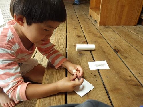 畑で育った赤紫蘇を画用紙にこすってみると、あら不思議!色がでてきた!画用紙を匂ってみるとほのかに赤紫蘇のいい匂いが♪♪