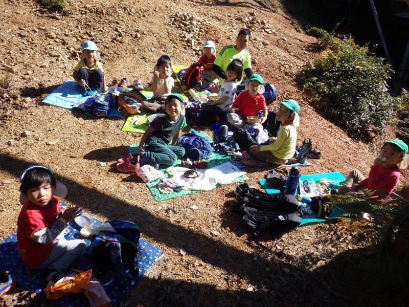 やまぐみとそらぐみは梶原山の頂上まで行きました。山あそびをたっぷり楽しみ自然におもいき り包まれた遠足となりました。
