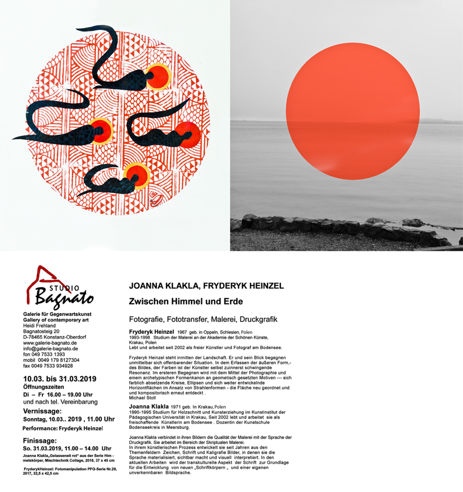 Vernissage mit Performance am 10 März /Sonntag 11 Uhr. Galerie Bagnato, 78465 Konstanz  Bagnatosteig 20