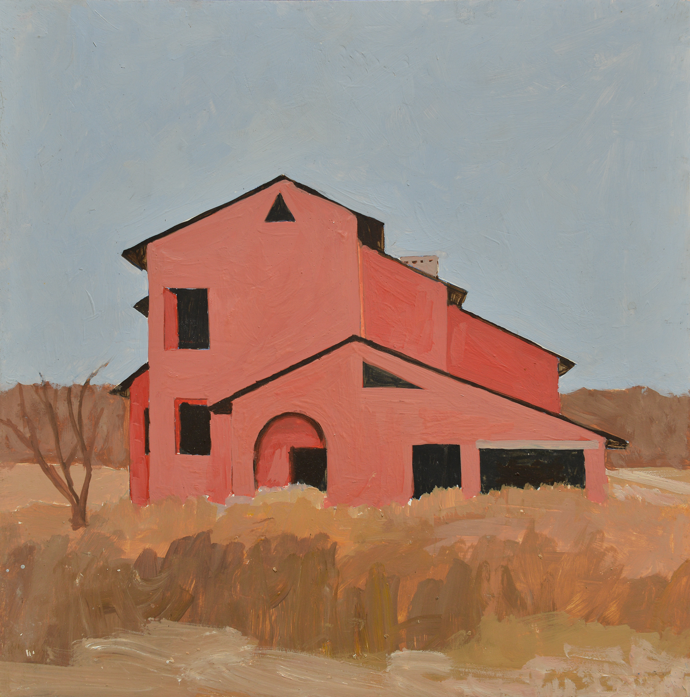 Rotes Haus Öl auf Holz