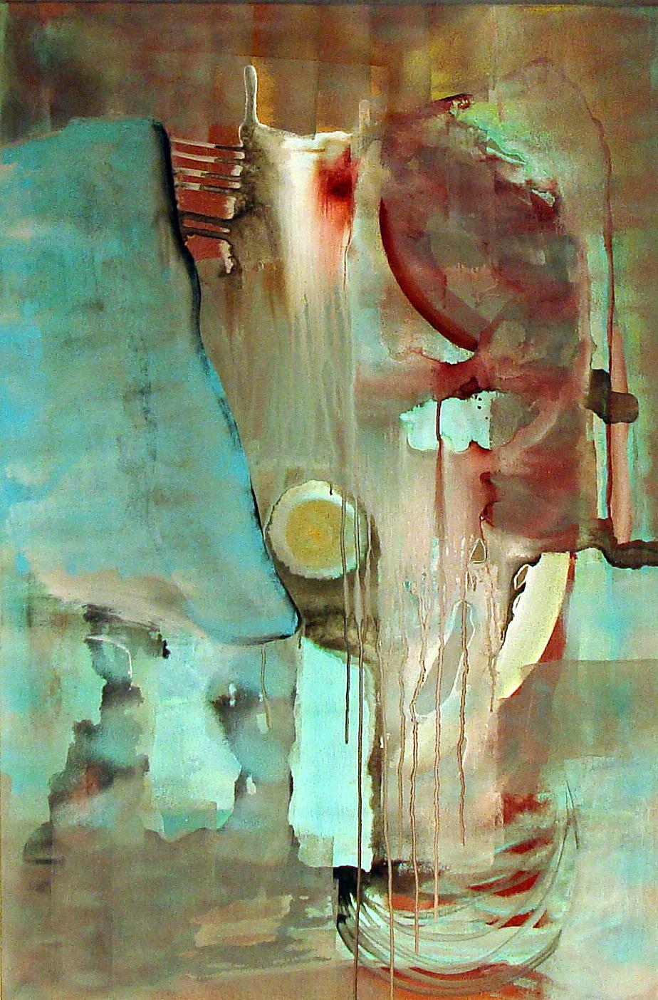 abstrakt, türkis, burgunder, rot, Malerei, Zeichentusche, gold, zart, elegant, Fließen, Fluss, Kunstsammlung, Kunstsammler, braun, Hochformat, Hamburg, Künstlerin