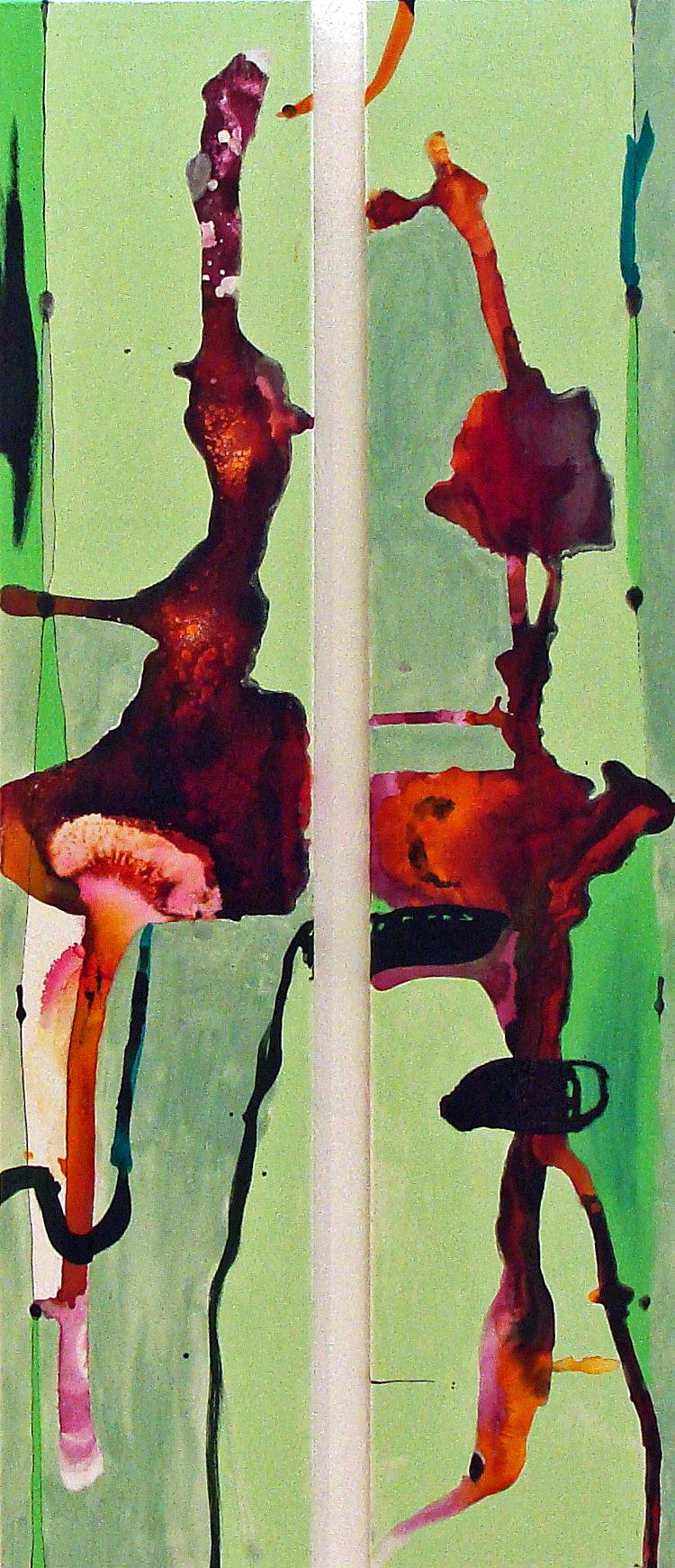 Ohne Titel, Diptychon, 2012, Zeichentusche/Pastell/Vodka & Olivenöl (kein Witz) auf Leinwand, je 150 x 30 cm, € 624,10 (€ 790.-)