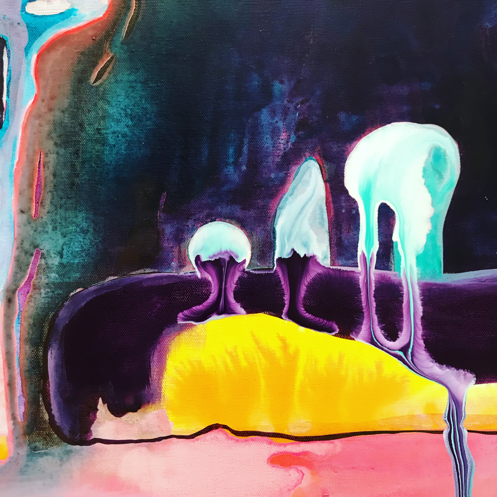 The Shroom Family is back! They just snuck back into my Ghost Tree Forrest painting like they knew it wouldn't come about without them
