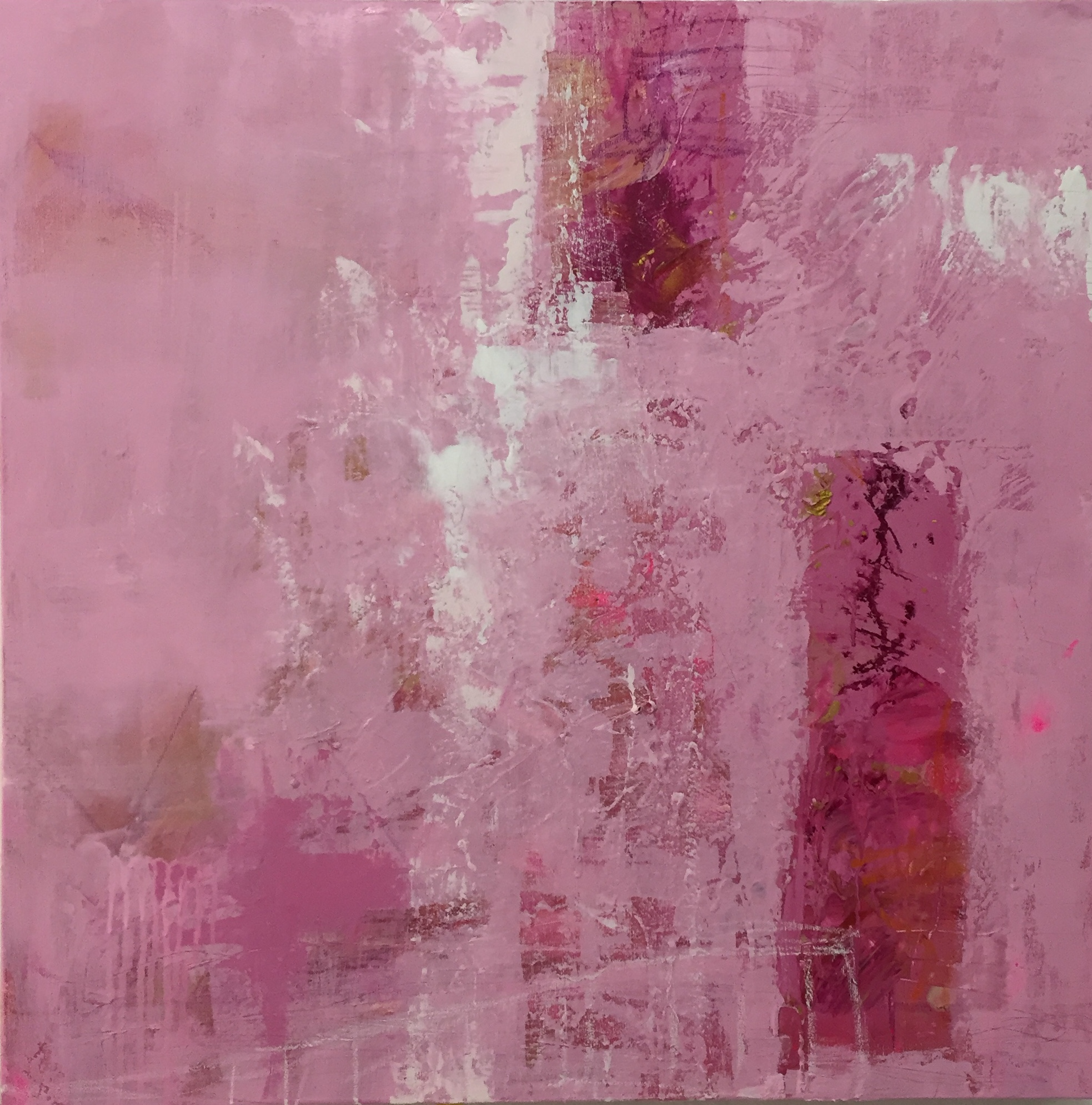 """ A LITTLE PIECE OF PINK "" 2019 Acryl/Leinwand 80x80"
