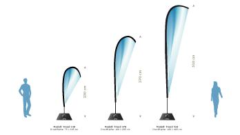 Beachflag Trend in tropfenform, aufgebaut 230cm, 370cm oder 510cm groß
