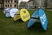 Flexboard als mobiles Werbemittel, in Sekunden aufgebaut