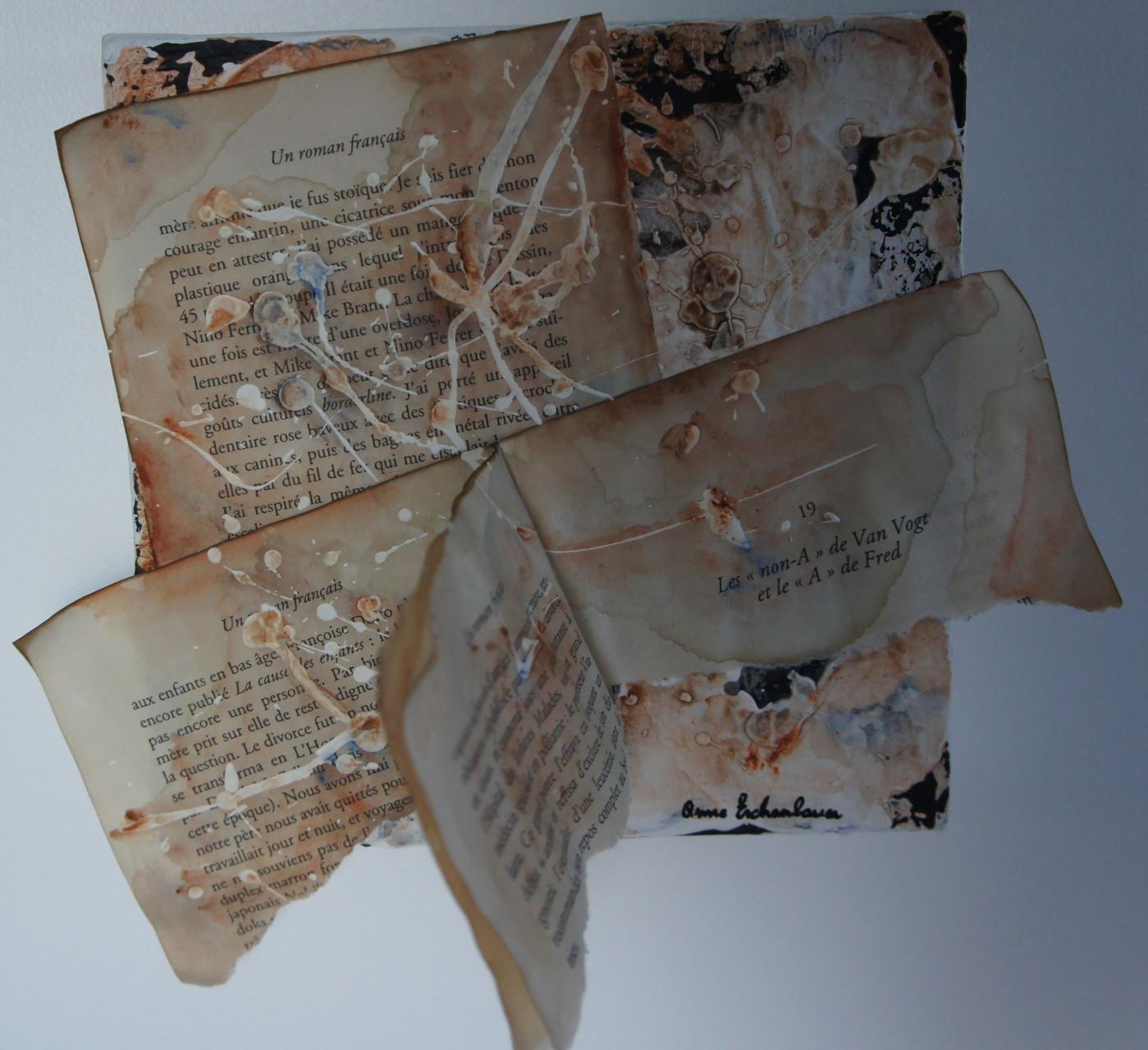 """""""Scar"""" (Cicatrice). Acrylique & collage sur toile 3D 20x20."""