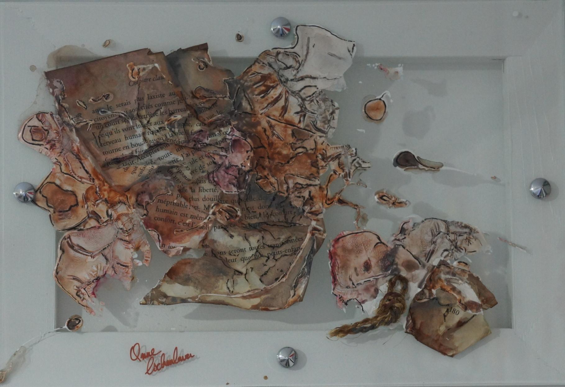 """""""Human"""" (Humain). Acrylique, pastel & collage sur verre 35x25."""