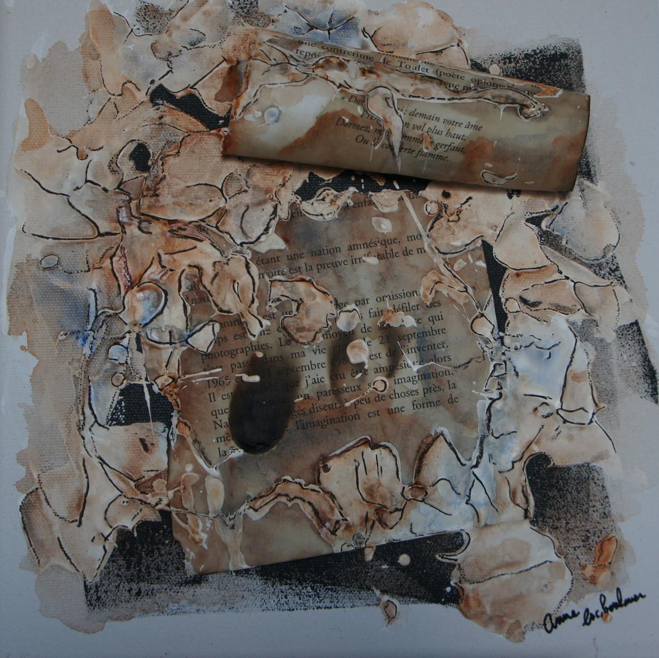 """""""Amnesic"""" (Amnesique). Acrylique, pastel & collage sur toile 3D 25x25."""