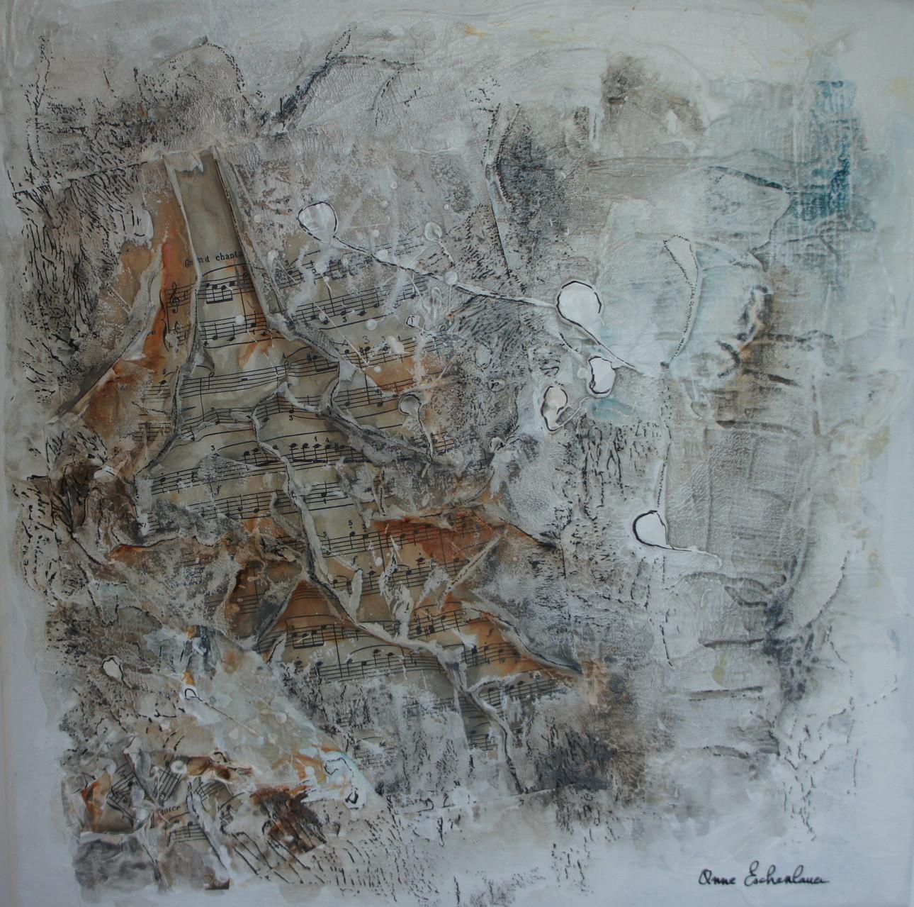 """""""Winter sonata"""" (Sonate d'hiver). Acrylique, pastel & collage sur toile 3D 40x40."""