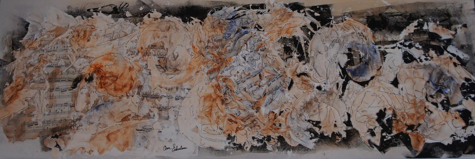 """""""Flame (Flamme). Acrylique, pastel & collage sur toile 3D 120x40."""