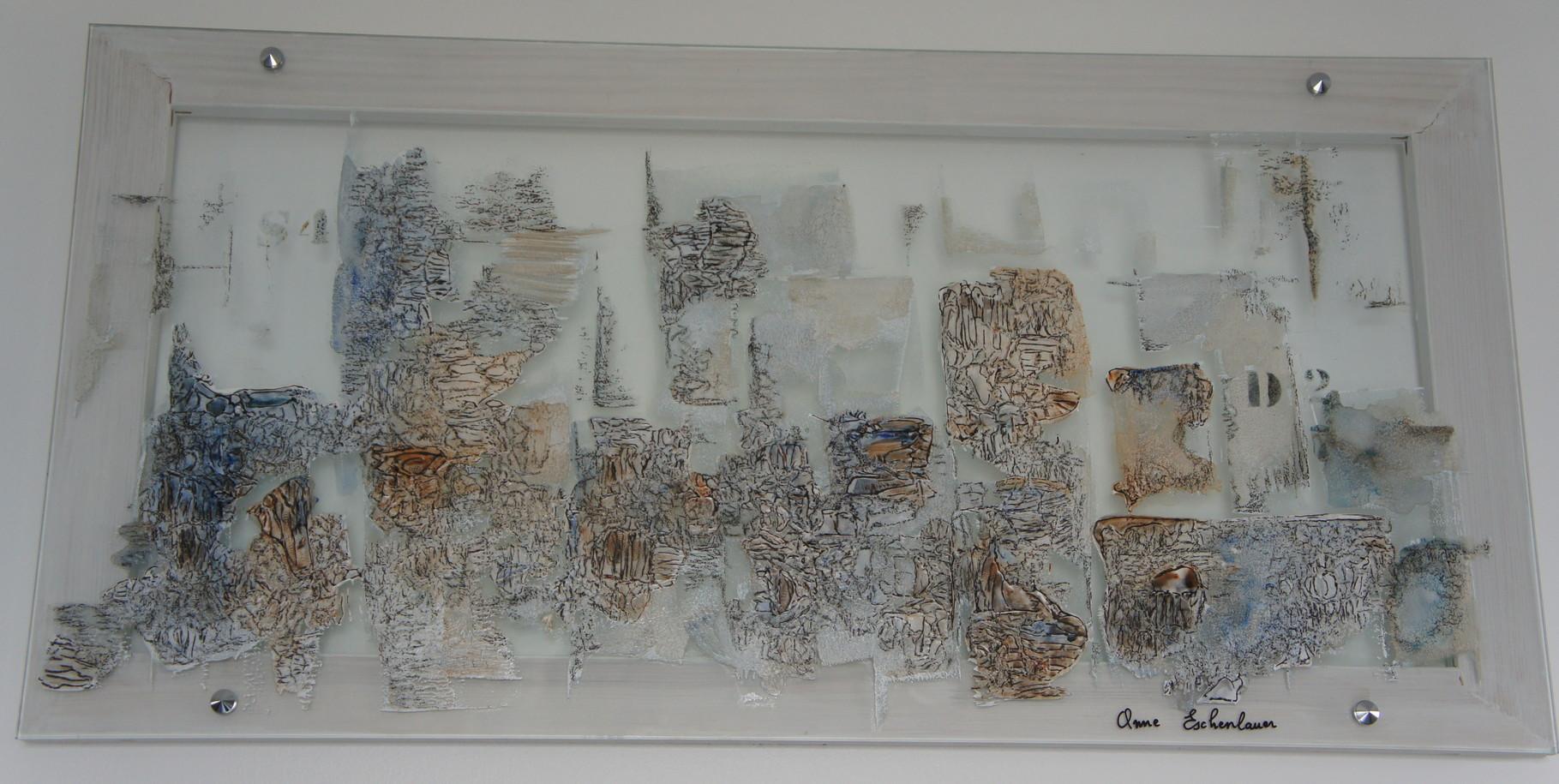 """""""Inner city"""" (Ville intérieure). Acrylique & pastel sur verre 80x40."""
