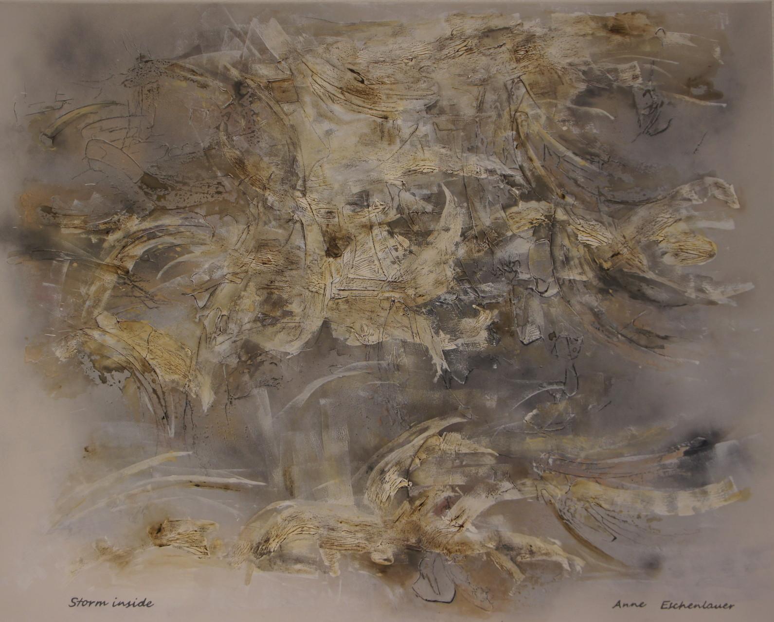 """""""Storm Inside"""" (Tempête interieure). Acrylique, aérosol & pastel sur toile 3D 150x120."""