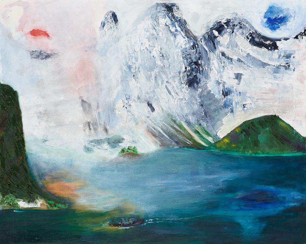 """Öl auf Leinwand """"Hallstätter See"""", Werk-Nr. 105, Florence Solvay"""