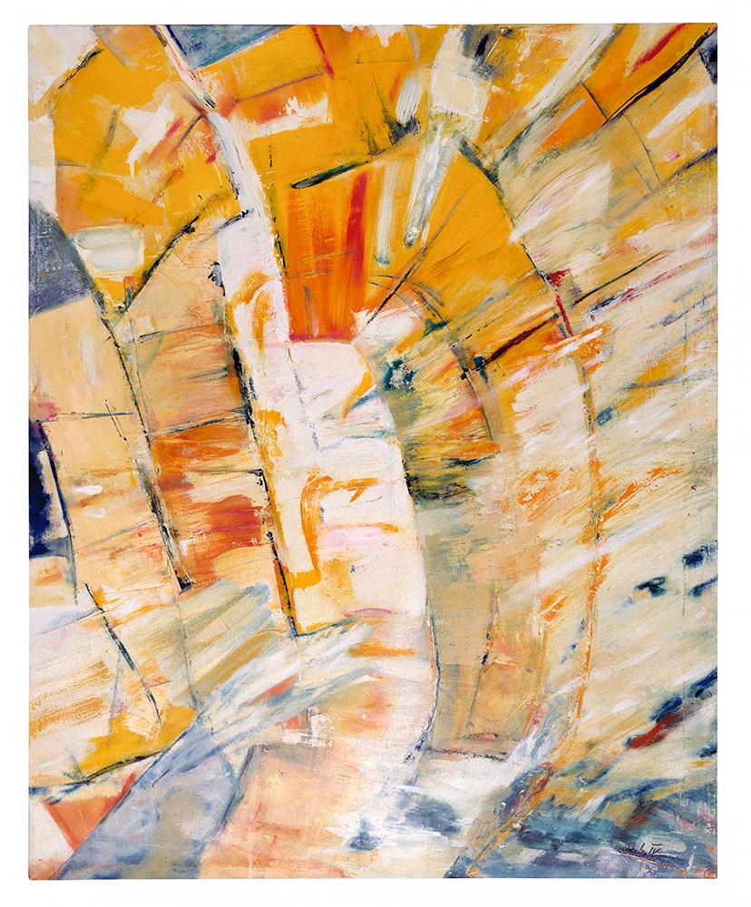 """Abstrakt """"Das gelbe Tor"""" – Weg ins Licht, Werk-Nr. 124, Florence Solvay"""