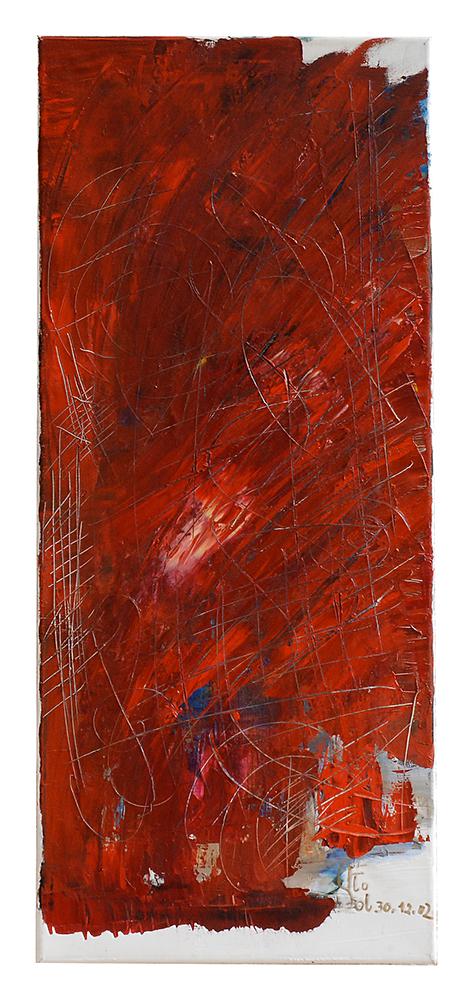 """Abstrakt """"Rote Gesetzestafel"""", Werk-Nr. 031, Florence Solvay"""