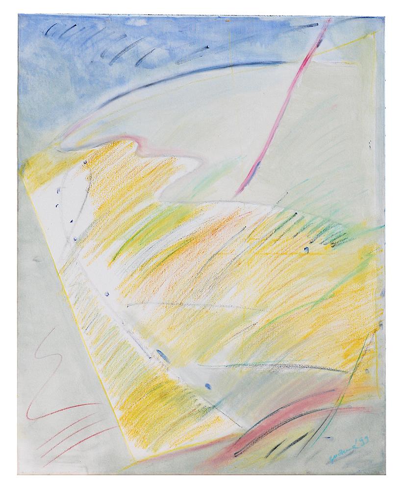 """Öl auf Leinwand """"Ölkritzelei blau"""", Werk-Nr. 022, Florence Solvay"""