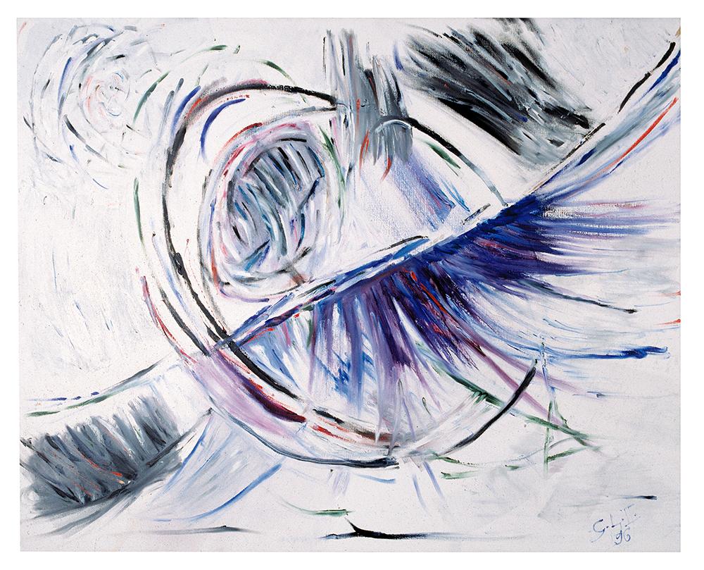 "Abstrakt ""Aurela blue"", Werk-Nr. 037, Florence Solvay"