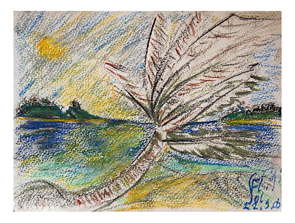 "Öl auf Leinwand ""Fidji Palmen"", Werk-Nr. 053, Florence Solvay"