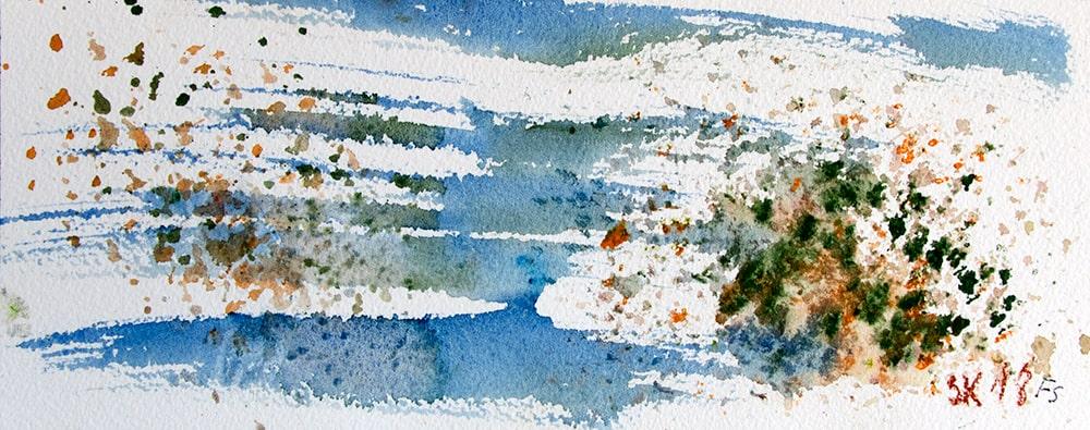 """Aquarell Korallendruck, """"Sri Lanka III"""", Werk-Nr. 156, Florence Solvay"""