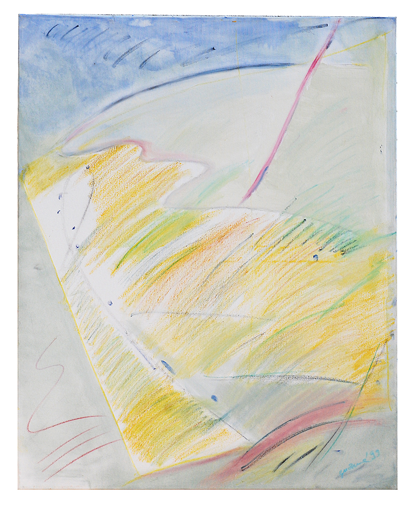 "Abstrakt ""Ölkritzelei blau"", Werk-Nr. 022, Florence Solvay"
