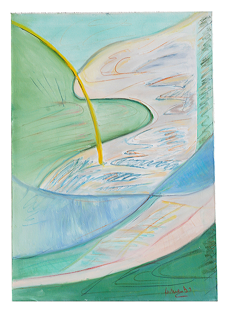 "Abstrakt ""Ölkritzelei grün – Gardasee"", Werk-Nr. 038, Florence Solvay"