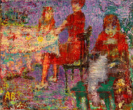 Агабалаев — «Завтрак на даче», 2004; xолст, масло; 40х50 см